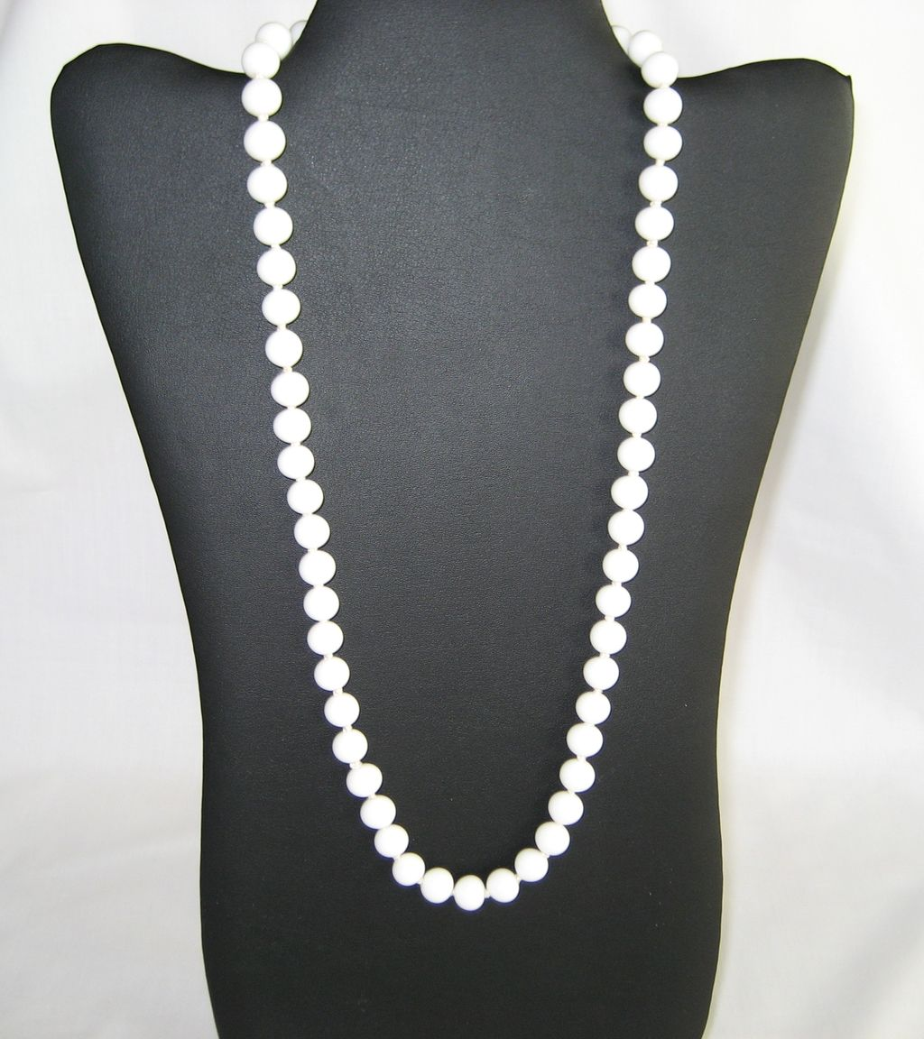 24 quot white glass bead necklace sterling clasp from