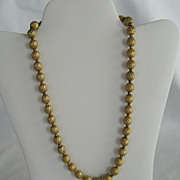 Trifari Gold Tone Beaded Necklace