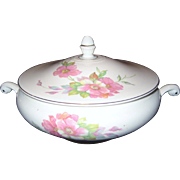 Homer Laughlin Wild Pink Rose Covered Casserole - 1944