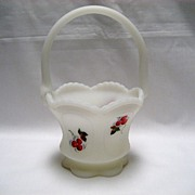 Fenton White Satin Winterberry Basket