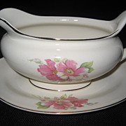 Homer Laughlin China Wild Pink Rose Gravy and Underplate