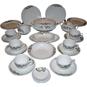 30 Piece Set Crown Pottery - Bird In A Bush Pattern