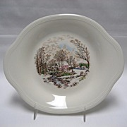 Edwin Knowles Winter Scenes Tabbed Dessert Plates - Set of 3
