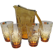 Fostoria Mesa Amber Pitcher and 4 Flat Juice Glasses
