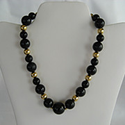 Monet Black and Goldtone Beaded Necklace