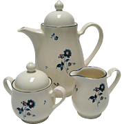 SALE Noritake Keltcraft Blue Chintz Coffee Pot With Cream & Sugar