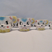 Set of 4 Cat Face Measuring Cups - Hand Painted Tilso Japan
