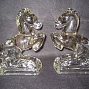 L.E. Smith Clear Glass Rearing Horse Bookends