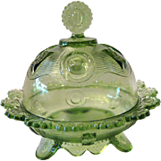 SALE Imperial Glass Footed Butter Dish - Domed Lid