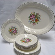 13 Pcs. Taylor Smith Taylor Petit Point Dinnerware