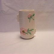 SALE Weller White Rudlor Vase - Pink Flowers