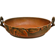 Roseville Pottery Bushberry Console Bowl #415-10, Woodland Orange, Ca. 1941