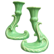 Elegant Cowan Pottery Candlesticks, Pair, Ca. 1928, April Green