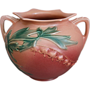 Exceptional Roseville Pottery Bleeding Heart Rose Bowl #378-6, Pink, Ca. 1940