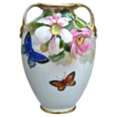 Noritake Nippon Hand Painted Floral Vase w/Butterflies
