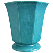 "�Large Hexagonal� Cowan Pottery Vase #V-40, ""Azure"" Matrix Glaze, Ca. 1930"