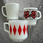 Fire King Mug Trio, 10 oz. Red Diamond, Pop Floral �Violet� & White �D� Handle