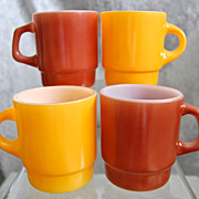 Fire King Stackable Mug Assortment, Yellow, Brown
