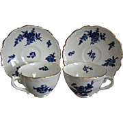 Coalport China Blue Floral Teacup & Saucer, Set of 2, Free Shipping!