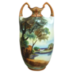 Spectacular 10 Noritake Nippon Matte Painted Scenic Vase, Ca. 1910