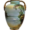 Noritake Nippon Hand Painted Scenic Vase w/Swan