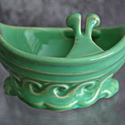 Cowan Pottery Ship Ashtray #770, April Green, Ca. 1928