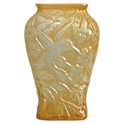 Consolidated Martele� Hummingbird Vase, Yellow Cased Opalescent, Ca. 1926