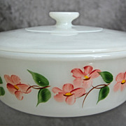 "Fire-King Gay Fad 2 Qt. ""Peach Blossom"" Casserole w/Lid"
