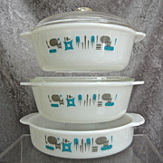 "Fire-King ""Blue Heaven"" Ovenware Set"