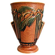 Roseville Pottery Laurel Vase #673-8, Red, Ca. 1934
