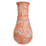 "Phoenix Glass Sculptured Artware ""Philodendron"" Vase, Coral Satin Crystal, Ca. 1936"