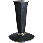 Cowan Pottery &quot;Diamond&quot; Bud Vase, Black w/Silver, Ca. 1929