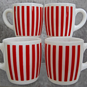 Hazel-Atlas Candy Stripe Mugs, Set of 4