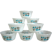 Fire-King &quot;Blue Heaven&quot; Custard Cups, Set of 8, w/Labels