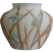 Consolidated Martele Katydid Ovoid Vase c 1926, Bi-color on Satin Milk Glass