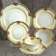 Fabulous Noritake Red �Vornay� 48 pc. Service for 8, Ca. 1930