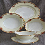 Noritake Red �Vornay� 4 pc. Serving Set, Ca. 1930
