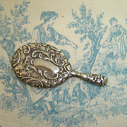 Lovely Little Embossed Silver Color Doll's Mirror for Your French Fashion