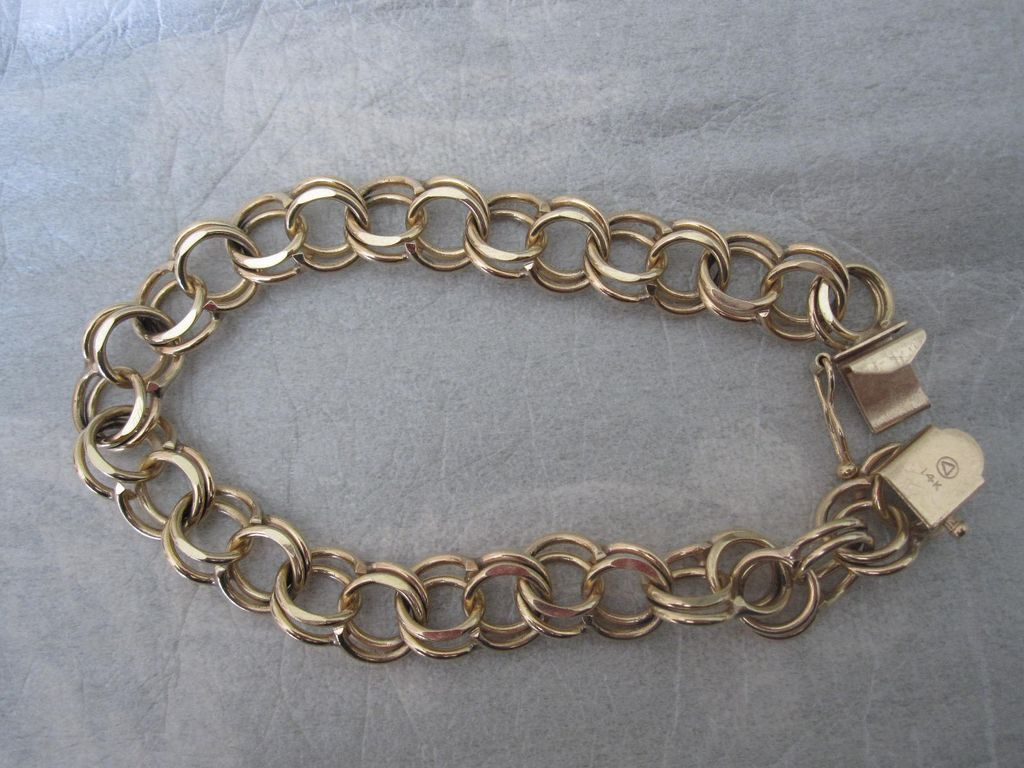 Stunning 14k gold double link charm bracelet from thefairmirror on