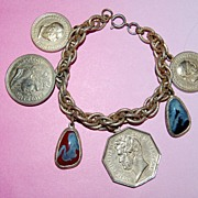SALE French Coin and Stone Charm Bracelet