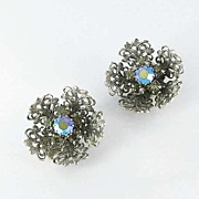 Aurora Borealis Earrings Filigree Clip Back Rhinestone Flowers