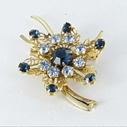 Blue RHINESTONE 1950s brooch pin rivet back Filigree Flower