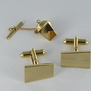 Men's set Gold tone abstract cuff links and tie tac cufflinks