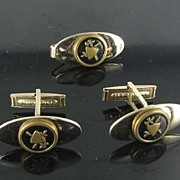 Vintage PATENT PEND mens set tie bar cuff links cufflinks shield crossed swords