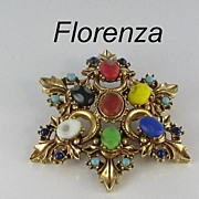 SALE Florenza Vintage Signed Brooch Star Pin with Multi Color Cabochons