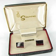 Simmons Sterling Silver Men's Cuff Links and Tie Bar Set Hard Back Box