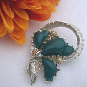 Coro Signed Vintage Thermoset Brooch - Teal Green Flower
