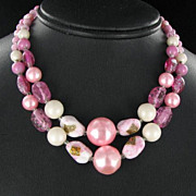 Japan Vintage Pink Art Glass and Pearl Necklace Multi strand