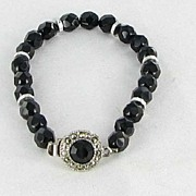 Black Glass Beaded Bracelet with Box Clasp and marcasites