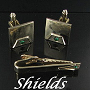 Shields Vintage Signed Men's set - Cuff links and Tie bar with green rhinestones